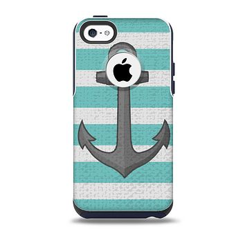 Teal Stripes with Gray Nautical Anchor Skin for the iPhone 5c OtterBox Commuter Case