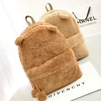Ladies Girls Backpack Handbag Cute Travel Satchel Shoulder Plush Bag Rucksack W_C [8021653191]