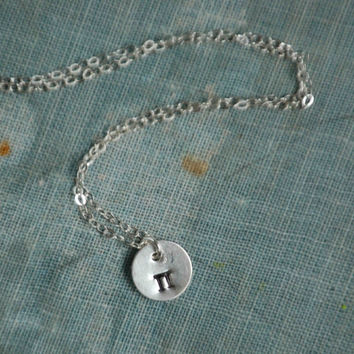 Tiny Pi Sterling Silver NECKLACE Greek Letter Hand Stamped Tiny Charm Sterling Silver Math Geek