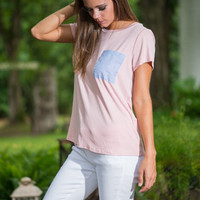 Casual Flirtation Seersucker Pocket Top, Pink