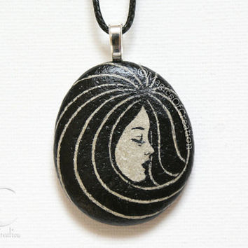 Hand painted stone, black pendant: original painting on stone, unique pebble art as pendant