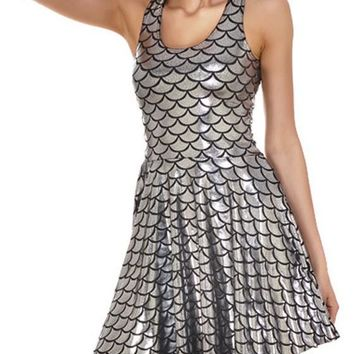 Silver Mermaid Shiny Fish Scale Printed Sparkly Sequin Draped Scoop Neck Skinny Fashion Tank Mini Dress