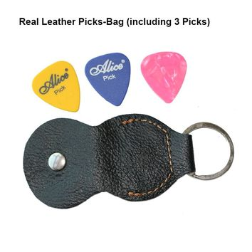 Guitar Bass Picks-bag real leather with metal ring Picks Holder Pick Case with Key Chain Genuine leather Collection + 3pcs Pick