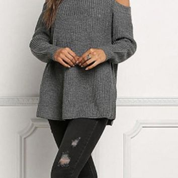 Grey Plain Cut Out Off-shoulder Draped Long Sleeve Oversized Pullover Sweater