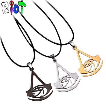 Assassins Creed Origins Logo Leather Chain choker necklace 3 color