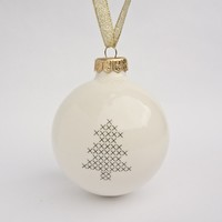 Christmas Ball Ornament - Handmade Porcelain Bauble
