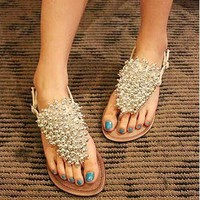 Shining PU Upper Flat Clip Toe Girls Sandals