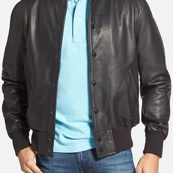 Men's Golden Bear Leather Baseball Jacket