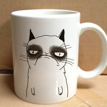 grumpy cat cute nope face design for mug, ceramic, awesome, good,amazing
