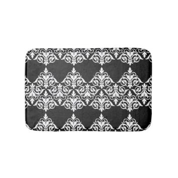 Black and White Damask Bathmat Bath Mats