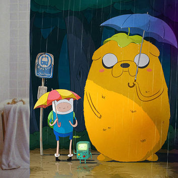 "adventure time totoro, my neighbor jake Custom Shower Curtain available size 66"" x 72"", 60"" x 72"",48"" x 72"""