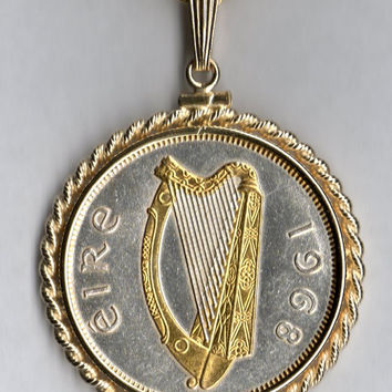 Gorgeous 2-Toned Gold & Silver Irish half dollar size Harp,  Coin Necklaces