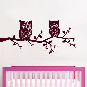 Wall Decals Owl on Branch Childrens Decor Kids Vinyl Sticker Wall Decal Nursery Baby Room Bedroom Murals Playroom - Owl Decor SV6007