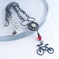 Steampunk Bicycle Necklace, Bike Jewelry, Steampunk Necklace, Steam Punk Jewelry, Victorian Necklace, Gear Jewelry, Clock Necklace