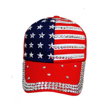 """""""American Pride"""" Stars and Stripes American Flag """"Bling"""" Red Hat"""