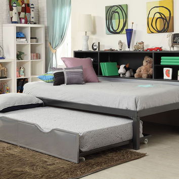 Acme Renell Twin Bed with Bookcase & Trundle, Black & Silver