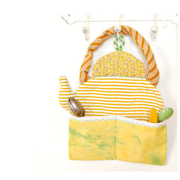 Handmade quilted kettle in yellow by BozenaWojtaszek on Etsy