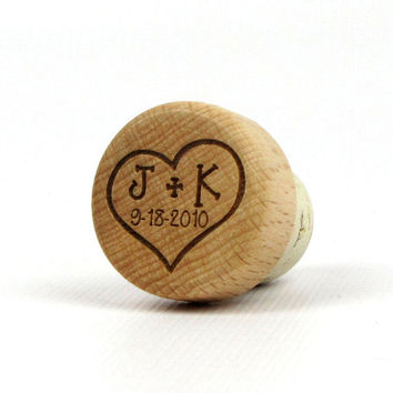 Engraved Solid Wood Topped T-Cork Wine Bottle Stopper - Sample - Initials in Heart