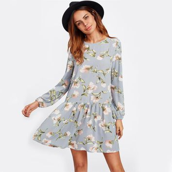 RWL BOUTIQUE Allover Flower Print Drop Waist A Line Dress Grey Long Sleeve Round Neck Cut Out Back Floral Cute Dresses