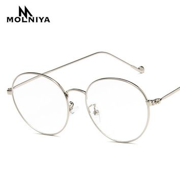 Fashion Round Glasses Frame Lunette 2017 Men Vintage Metal Frame Clear Lens Glasses Optical Glasses Women Mirror Plain G35