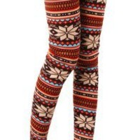 Leggings Warm Tights Women Snowflakes Striped Multi-colored