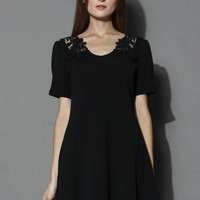 Delicate Lace Back Flare Dress in Black Black