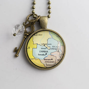 Map of Zambia - Map Pendant Necklace - Custom Jewelry - Travel Necklace - Personalized Gift - Missions Adoption Jewelry Lusaka Map Necklace