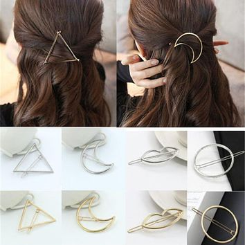 Gold/Silver Plated Metal Triangle Circle Moon Shaped Hair Clips