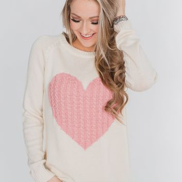 Follow Your Heart Knitted Sweater- Cream