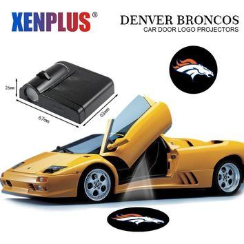 Car Door Light Welcome Lamp for Denver Broncos Logo LED Wireless Projector NFL Decoration Ghost Shadow Batman Spiderman
