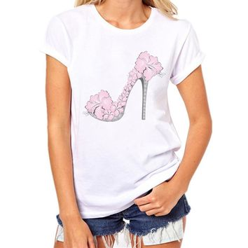 Women'S T-Shirts Women T-shirt Top Vintage High Heels Punk Shoes Retro Sexy T Shirts