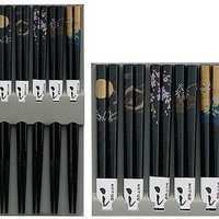 Bamboo Chopsticks Gift Set Crane Design (Scenery Black Color)