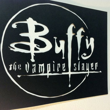 Buffy the Vampire Slayer Hand Cut Wall Art, Papercut Art, Joss Whedon, Black and White, Minimalist, TV Show, Fantasy Home Decor