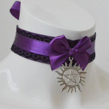 Gothic collar - Winchester -  goth collar inspired by supernatural with pentagram pendant - gothic lolita - black and violet