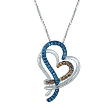 Sterling Silver .51 cttw Blue and Brown Diamond 18-Inch Chain Overlapped Heart Pendant Necklace