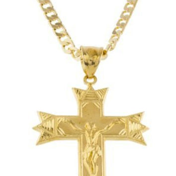 Large Gold Brass Jesus Piece on Designed Cross Pendant with an 8mm Cuban Chain Necklace