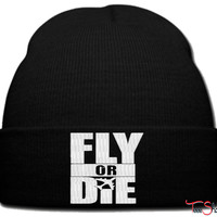 fly or die beanie knit hat