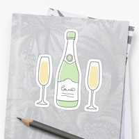 'Champagne bottle and glasses stickers - hand drawn style' Sticker by Mhea