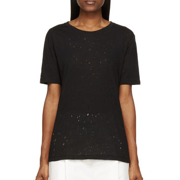 T By Alexander Wang Black Distressed T-shirt