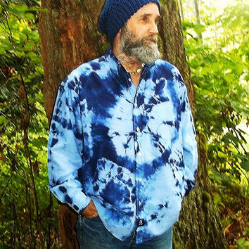 Shirt Oxford Style Button Up Tie Dye OOAK Royal Blue 100% Cotton UNISEX Medium Weight Long Sleeved