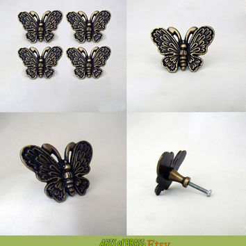 Lot of 4 pcs Vintaqe BUTTERFLY Antique Cabinet Door Brass KNOB Drawer Pulls
