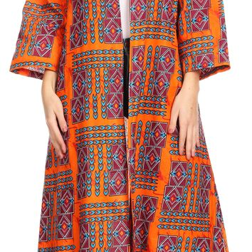 Sakkas Bolanile Cardigan Coat Long Sleeves African Ankara Print With Head Scarf