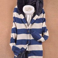 Blue Hooded Long Sleeve Cardigan