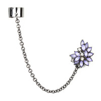 Hematite Ear Cuff and Chain with Lavender Shiny Stone Marquis Flower