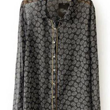 Skull Print Metal Chain Shirt S010155