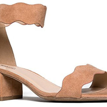 Suede Open Toe Ankle Strap Sandal - Trendy Kitten Heel Shoe - Low Block Formal Heel -