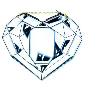 Diamond Heart Shaped Vinyl 2D Cross Shoulder Bag | DOTOLY