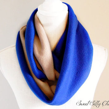 Royal Blue and Tan Fleece Infinity Scarf, Blue and Bronze Scarf, Fall Winter Scarf, Colorblock Fleece Scarf
