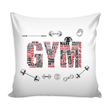 Typographic Gym Workout Graphic Pillow Cover