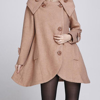 Camel cloak wool coat Hooded Cape women Winter wool coat by MaLieb